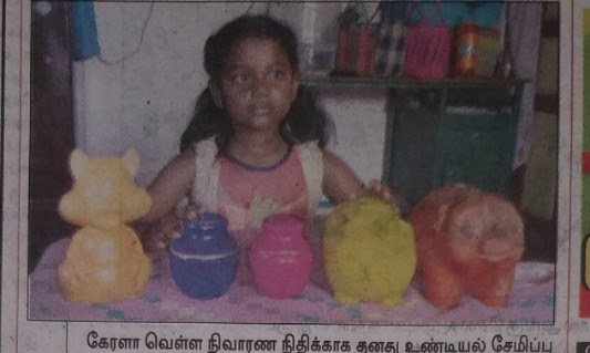 An 8 year old girl broke her piggy bank to help the kerala flood victims